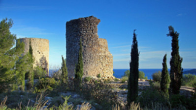 Ruins of the windmills on La Plana