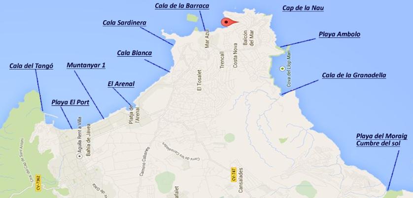 Karte mit allen Stränden und Buchten Javea